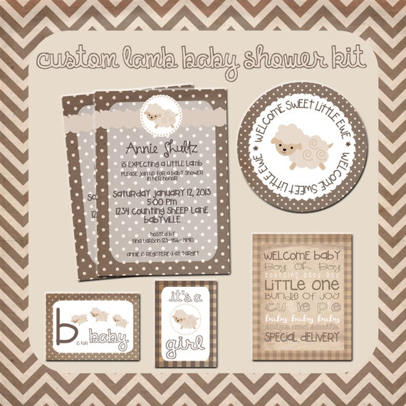 Lamb Baby Shower Printable Kit, Custom By Emmie Cakes