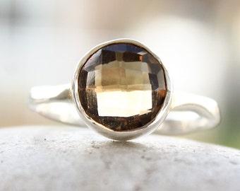 Silver Citrine Gemstone Ring - 925 Sterling - Birthstone Ring, Stacking Ring