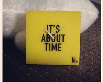 """Yellow Modern clock miniature """"It's about time"""" (scale 1:12)"""