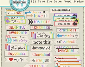 P52 Save The Date Word Strips