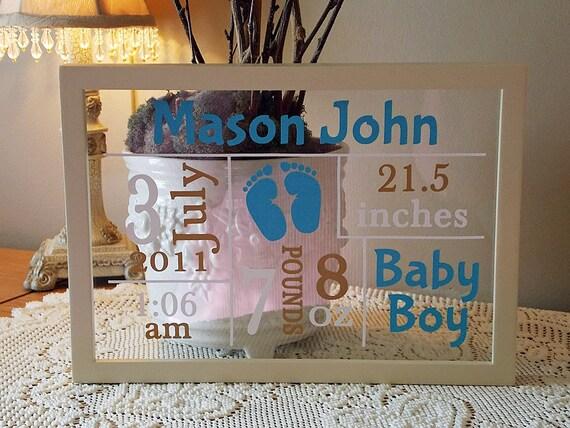 Baby Gift Ideas Using Cricut : Male baby annoucnement vinyl lettering framed