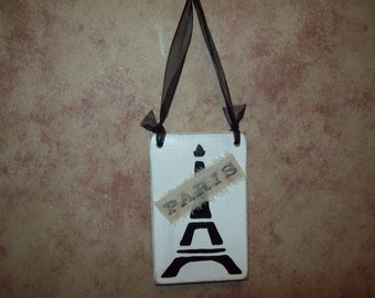 Shabby French Eiffel Tower ornament sign wall hanging