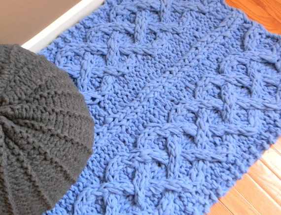 Knit Rug Pattern : Big Chunky Cable Knit Rug Pattern Only permission by LuckyHanks