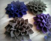 Felt Dahlia flower hair clip or brooch pin set  -choose 3 colors- custom made to order