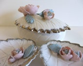 Vintage Dresser Set, Trinket Dish, Floral Dishes