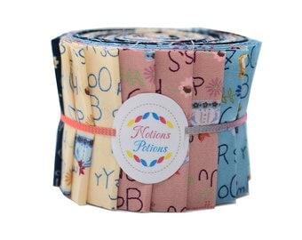 "Scrumptious Honey Sweet Quilt Jelly Roll Child Alphabet Whale 2 1/2"" 20 Strips in Cream Pink Blue"