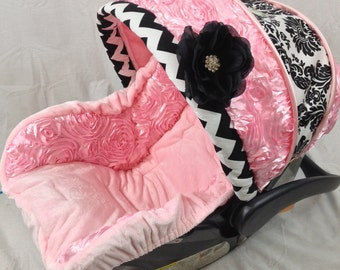 stunning chevron and damask infant replacement cover chevron custom baby carseat cover. Black Bedroom Furniture Sets. Home Design Ideas