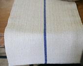 blue stripe grain sack table runner