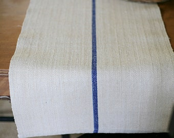 blue stripe grain sack table runner