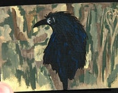 Crow Aceo Art Painting, Hidden, Forest, Original Acrylic, Canvas Paper