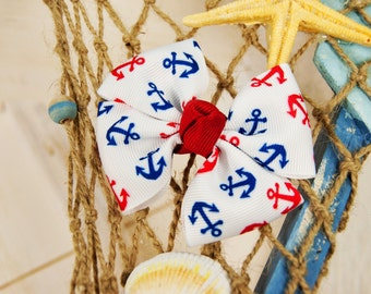 Red and Navy Anchor Bow, Nautical Hair Bows, Pinwheel Bows, Beach Hair Bows, Bows For Toddlers, Anchor Hair Bows, Piggy Tail Bow, Ponytail