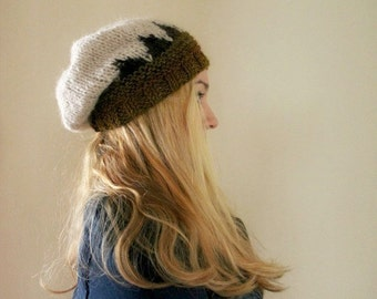 Womens Slouchy Beanie Olive Green Brown Oatmeal Beanie Hand Knitted Beanie Nordic Scandinavian Motif Patterned Beanie Knit Winter Hat Gift