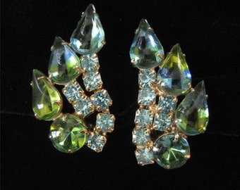 Gorgeous Blue and Green Prong Set Rhinestone Clip On Earrings