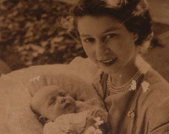 Photochrom Photo of England's Royal Mother with Baby Princess Anne Picture
