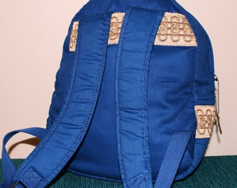 Hand Crafted By Maggie Blue Denum Backpack Book Bag- Back To School Sale.