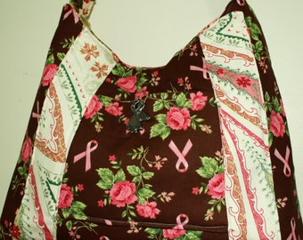 Hand Crafted  Maggiebags Original Design for Breast Cancer awearness- Strong Messenger Bag- Reverisible.  Sale