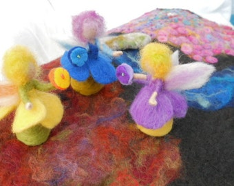 Waldorf Fairy,Flower Fairies, Play Mat, Play Scape, Hand Felted Fairy, Needle Felted Fairy, Nature Table, Bluebell,Primrose, Violet
