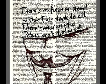 Buy Any 2 Prints Get 1 Free V is for Vendetta Ideas Vintage Dictionary Art