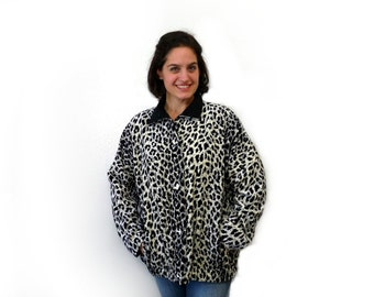 Vintage Leopard print Jacket Velvet Reversible Black jacket Women Size XL