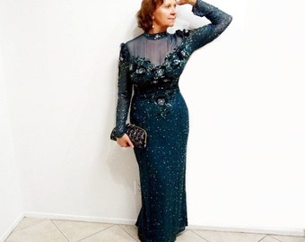 Glamorous Emerald Dress Hand Beaded Sequin Gown // Bob Mackie Evening Cocktail Dress US 16 M/L