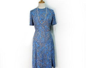 Vintage 60s Paisley Dress, Vintage Pleated Drop Waist dress, Aqua blue Dress Medium