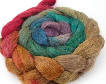 Spinning Fiber - Alpaca & Tussah Silk Combed Top - Chocolate Rainbow