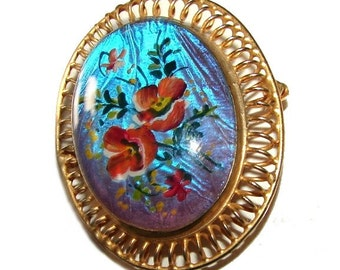 Free Shipping Art Deco Rare Morpho Butterfly Wing Brooch Enameled Hand Painted Folk Flowers