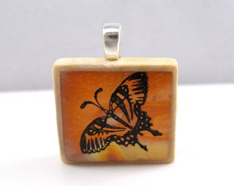 Copper butterfly - Glowing metallic Scrabble tile pendant