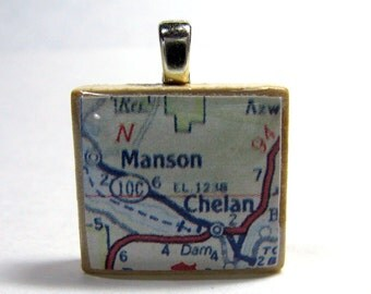 Chelan and Lake Chelan, Washington - 1962 vintage map Scrabble tile pendant