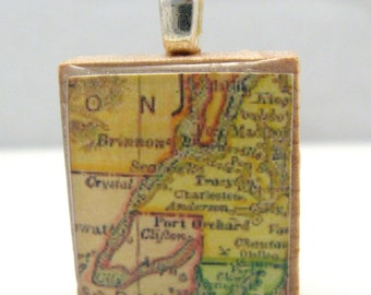 Hood Canal, Washington - your choice of 1972 or 1895 vintage Scrabble tile map pendant
