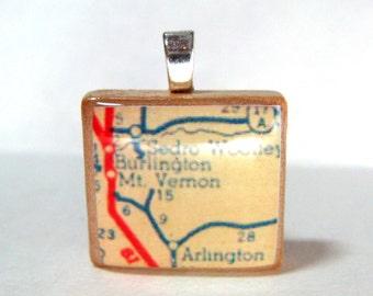 Mt. Vernon, Washington - your choice of  Scrabble tile pendant made with vintage Mount Vernon map