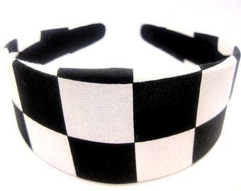 Black White Checkered Headband 2 Inch