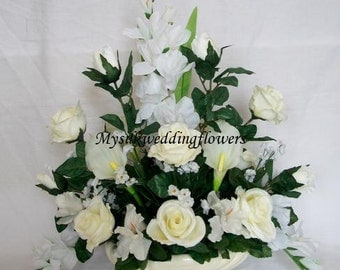Ivory Roses Ivory Off- white Real Touch Calla Lily Silk Flower Floral Arrangement / Centerpiece