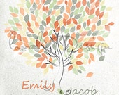 Customizable country Wedding Watercolor Guestbook tree on canvas 200 guests Available as a poster on paper