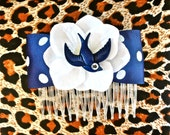 Rockabilly Navy Swallow & White Hydrangea Dot Hair Comb - Retro - 50s
