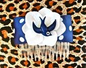 Rockabilly Navy Swallow & White Hydrangea Dot Hair Comb - Retro - 50s
