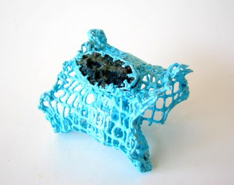SALE - clearance - teal blue mesh cuff bracelet with unpolished agate