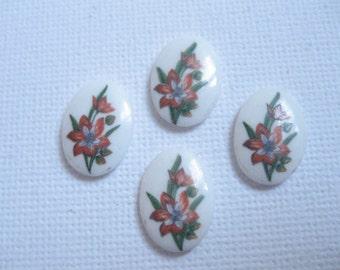 New Arrival 14x10mm Lily Glass Cameos