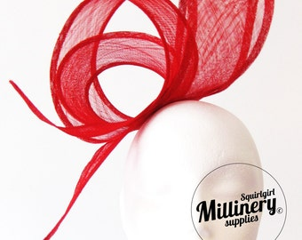 Wide Sinamay Ribbon Sash for Millinery, Hat Trimming & Fascinators Red