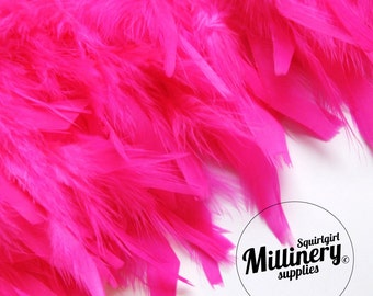 """Bright Pink Chandelle Feather Fringe (9"""" Piece) Hat Trim for Millinery & Crafts"""