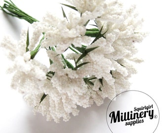 White Bobble Bud Flower Picks / Stamens for Millinery, Corsages & Boutineers Bunch of 12