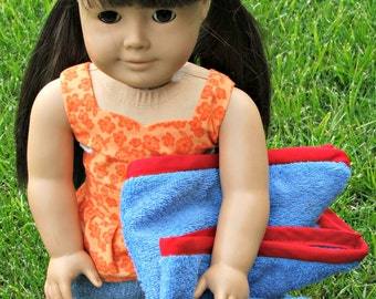 Blue Towel With Red Edging for American Girl and other Dolls