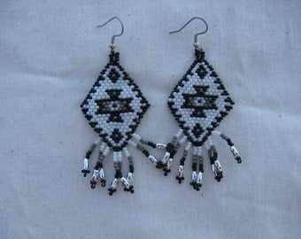 Navajo Rug Earring in Black, Gray and Pearl White