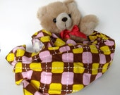 Large Blankie - 32x40 Yellow, Pink, and Brown Argyle