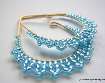 ETRUSCAN LACE Baby Blue Earrings -- beaded beads lace on handmade drop shaped brass hoops earrings