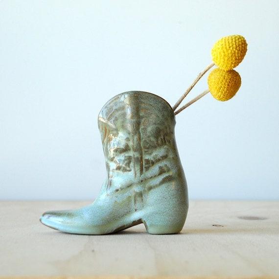 Vintage Frankoma Cowboy Boot Vase Prairie Green 1960s Modern
