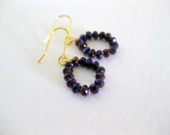 Black Czech crystal bead dangle earrings for everyday or special ocassions