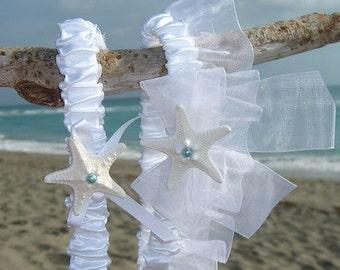 Beach Wedding Garter Set-SOMETHING BLUE-Bridal Garter Set, White Wedding, Beach Weddings, Destination Weddings, White Garters