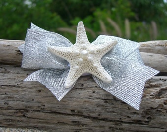 Starfish Hair Clip-SEASHORE SPARKLE-Mermaids, Beach Weddings, Silver , Girl Hair Clip, Summer Vacation, Starfish
