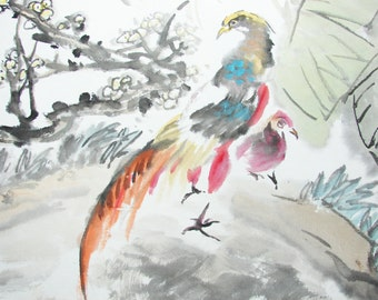 Perky Golden Pheasant Enjoy Their Life Asian Watercolor Painting By Chinese Famous Artist Li Yuanguo - 1328